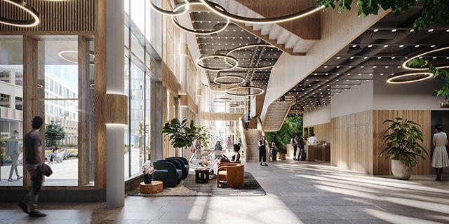 Levande och inbjudande entréplan med reception, café och ytor för möten och event. Humlegården