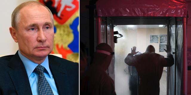 Vladimir Putin och en bild på en desinfektionstunnel i Brasilien.