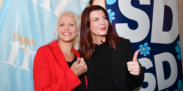 Moderaternas Emilie Pilthammar och Sverigedemokraternas Louise Erixon. Johan Nilsson/TT / TT NYHETSBYRÅN