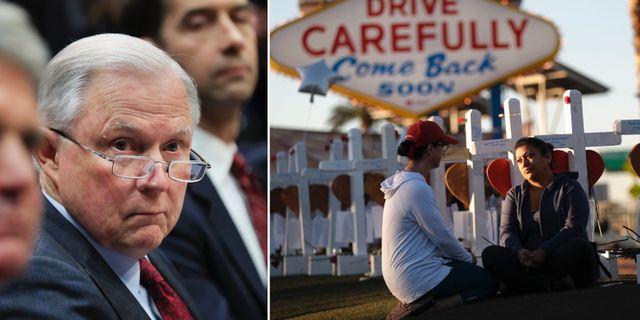 Jeff Sessions/två personer sörjer efter masskjutningen i Las Vegas. TT