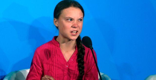 Greta Thunberg under sitt tal på FN:s klimatmöte i New York.  Jason DeCrow / TT NYHETSBYRÅN