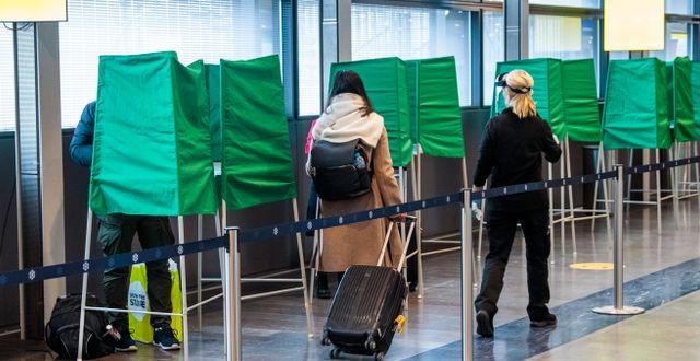 Provtagningsstation för Covid-19 på Arlanda flygplats. Claudio Bresciani / TT / TT NYHETSBYRÅN