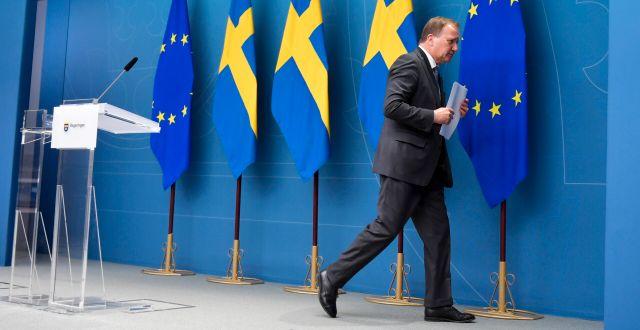 Stefan Löfven vid en pressträff på måndagen, efter misstroendeomröstningen Anders Wiklund/TT / TT NYHETSBYRÅN