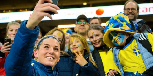 Olivia Schough vid vänskapsmatch mot TYskland i Stockholm, 6 april. JOEL MARKLUND / BILDBYRÅN