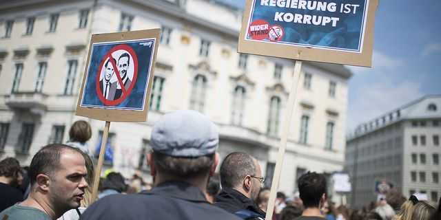 Demonstrationer i Wien på lördagen. TT