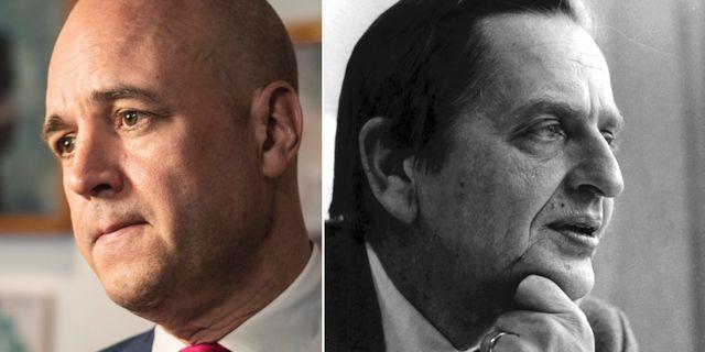 Fredrik Reinfeldt och Olof Palme. TT