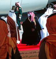 al-Thani och bin Salman hälsar på varandra. Amr Nabil / TT NYHETSBYRÅN
