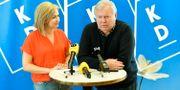 Kristdemokraternas pressträff om Ebba Busch Thors förvalsturné samt den inledande utfrågningen med Bert Karlsson på Regionens hus i Skövde. Björn Larsson Rosvall/TT / TT NYHETSBYRÅN