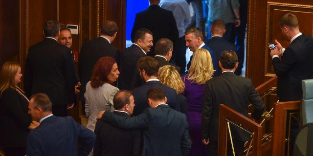Kosovos parlament vid förra veckan omröstning. Visar Kryeziu / TT NYHETSBYRÅN