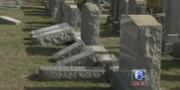 Välta gravstenar på kyrkogården i Philadelphia. WPVI-TV