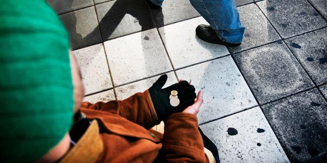 Människa ber om pengar. Arkivbild. Oskar Kullander / SvD / TT / SVENSKA DAGBLADET