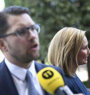 Jimmie Åkesson och Ebba Busch. Pontus Lundahl/TT / TT NYHETSBYRÅN