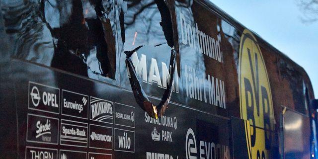 Dortmunds spelarbuss exploderade. Martin Meissner / TT / NTB Scanpix