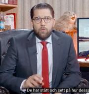 Jimmie Åkesson under sitt hösttal. Sverigedemokraterna