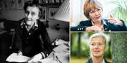 Astrid Lindgren med en del av den brevskörd som hon mottog efter sin skattesaga om Pomperipossa som hon skrev i protest mot en av Gunnar Strängs skatter/Beatrice Ask/Kristina Axén Olin.