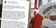 Polisen riktar kritik mot badande i inlägg på Facebook.  TT