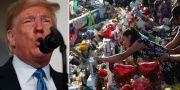 Donald Trump och minnesplats i El Paso.  AP