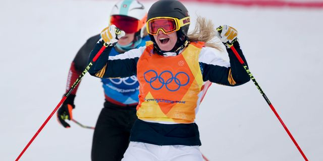 Lisa Andersson jublar efter B-finalen. Andreas Hillergren/TT / TT NYHETSBYRÅN