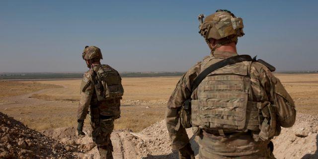 Amerikanska trupper på gränsens mellan Syrien och Turkiet. Maya Alleruzzo / TT NYHETSBYRÅN
