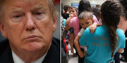 Donald Trump, arkivbild/Kvinnor och barn från länder som Honduras, Guatemala och El Salvador anländer till en busstation efter att ha släppts från myndigheterna vid gränskontrollen. TT