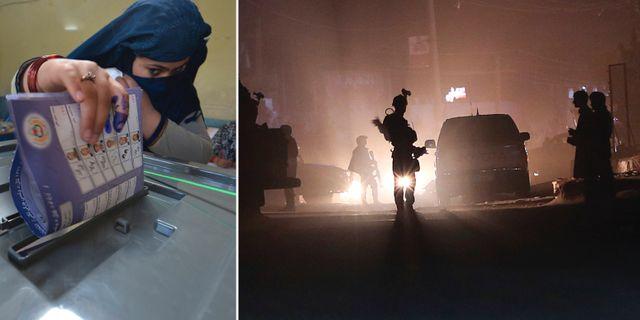 Kvinna lägger sin röst/polisen efter explosioner. TT