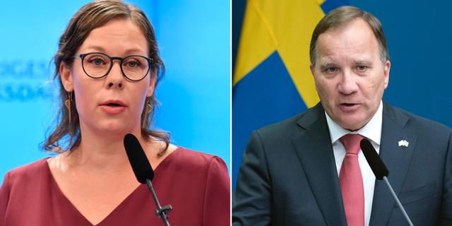 Moderaternas Maria Malmer Stenergard och statsminister Stefan Löfven.  TT