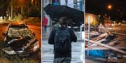 Bilder från den stormiga fredagsnatten. Bilolycka i Göteborg, paraplyproblem och vält byggnadsställning i Malmö. TT.