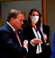 Statsminister Stefan Löfven med danska premiärministern Mette Frederiksen.  John Thys / TT NYHETSBYRÅN
