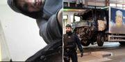 Akilov tog en bild på sig själv efter dådet. Till vänster: Lastbilen bärgas från Drottninggatan.  Bild från förundersökning / TT