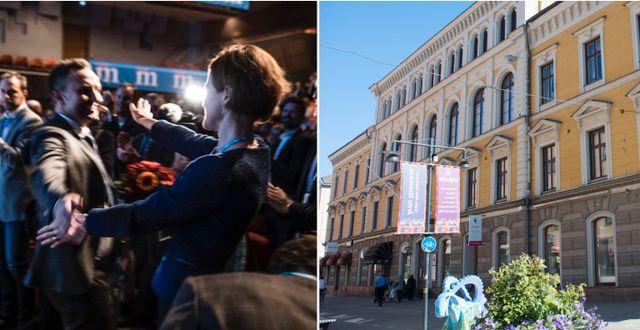 Partisekreteraren Tomas Tobé (M) omfamnar Anna Kinberg Batra på partistämman tidigare i höst. Gävle stadshus. Arkivbilder. TT