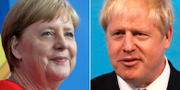 Angela Merkel och Boris Johnson. TT