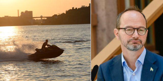 Arkivbild: Vattenskoter i Stockholm. Till höger: Tomas Eneroth på dagens pressträff. TT
