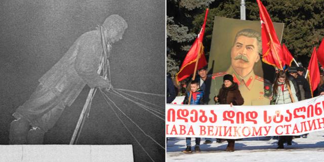 Stalinstatyn raseras år 1956/demonstranter hyllar Stalin år 2016. TT