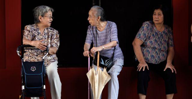 Elderly women sit and chat in Tokyo, Thursday, Sept. 13, 2012. Junji Kurokawa / TT NYHETSBYRÅN