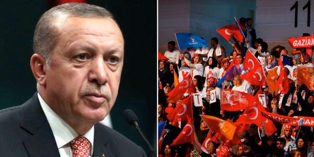 Turkiets president Recep Tayyip Erdogan/Deltagare vid AKP:s partikongress  TT