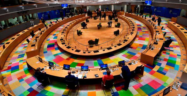 Bild från ett EU-sammanträde i Bryssel. John Thys / TT NYHETSBYRÅN