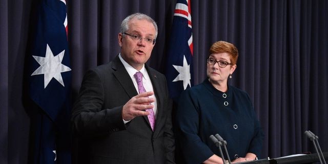Australiens premiärminister Scott Morrison och utrikesminister Marise Payne. HANDOUT / TT NYHETSBYRÅN
