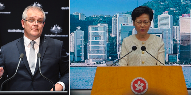 Australiens premiärminister Scott Morrison/Hongkongledaren Carrie Lam. TT