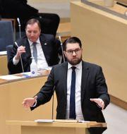 Jimmie Åkesson under debatten. Janerik Henriksson/TT / TT NYHETSBYRÅN