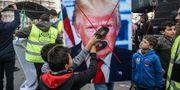 Palestinska barn protesterar mot Trumps fredsplan i Khan Yunis i södra Gaza. SAID KHATIB / AFP