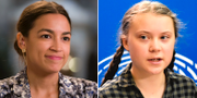 Alexandria Ocasio-Cortez och Greta Thunberg. Arkivbilder. TT