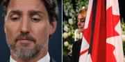 Justin Trudeau och en sörjande kvinna med en kanadensisk flagga.  TT