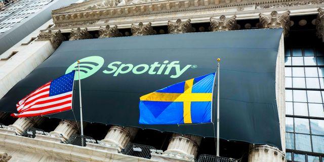 Spotifys notering i april. Arkivbild.  HANDOUT / TT NYHETSBYRÅN