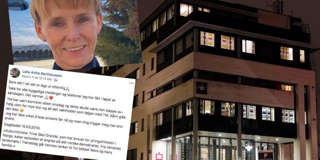 Skärmdump som föreställer ett inlägg från Laila Anita Bertheussen/PST. Poppe, Cornelius / TT NYHETSBYR≈N