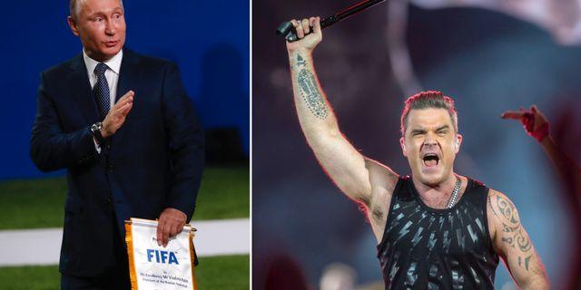 Vladimir Putin och Robbie Williams.  TT.