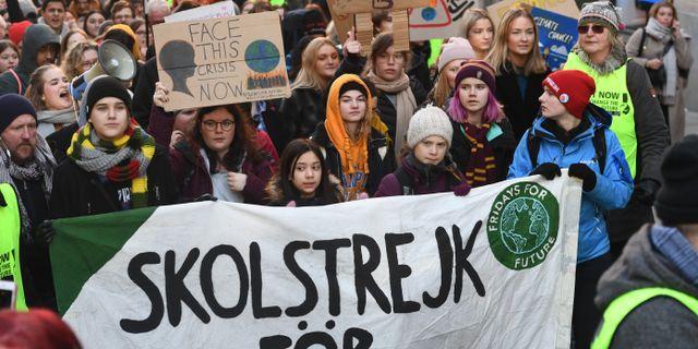 Skolstrejk i Stockholm. Naina Helén Jåma/TT / TT NYHETSBYRÅN