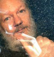 Julian Assange efter att han greps tidigare idag. Victoria Jones / TT NYHETSBYRÅN/ NTB Scanpix