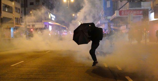 Bild från tidigare protester i Hongkong. Vincent Yu / TT NYHETSBYRÅN