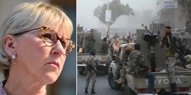 Margot Wallström/Skärmdump från videoklipp i samband med stridigheter i den jemenitiska hamnstaden Aden. TT