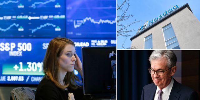 Illustrationsbilder: Wall Street-investerare, Stockholmsbörsen, Fed-chefen Jerome Powell. TT